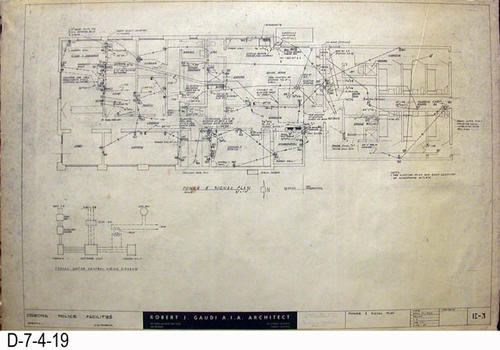 "THESE PRINTS ARE FOR VIEWING ONLY BY AUTHORIZED INDIVIDUALS:  This blueprint is for the Corona Police Facility.  Page E3 shows the Power and Signal Plan.   MEASUREMENT:  24"" X 36.5"" - CONDITION:  Excellent condition.  Some pages have minor tears on the margin edges. - COPIES:  1."