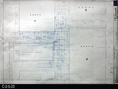 "This blueprint is part of a 26 blueprint set for the Corona Mall in connection with the Corona Downtown Redevelopment Project.  MEASUREMENTS:  30"" X 42.5"" - CONDITION:  This blueprint is fully legible, but shows the wear and tear of field use.  In addition, the top margin area has been irregularly trimmed. - COPIES:  1 - MAP ORIENTATION: Top is NORTH."