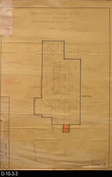 "This blueprint is a Parcel Map.  Boundary streets are:  Belle Avenue - west, 3rd St - north, Victoria Avenue - east, and 8th St. - south.  In the upper left hand corner is an adding machine tape dated  Feb. 2, 1974, for the gross area computation.  Notation in the lower right hand corner reads:  ""Joint Public Hearing, City Council and Redev.  Agency held 05/15/1973 at Council Chambers.""   MEASUREMENTS:  36"" X 24"" - CONDITION:  The bottom and left margin area has tears.  COPIES:  1 - BLUEPRINT ORIENTATION:  Top is NORTH."