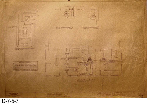 "This eight page set of blueprints was for the Phase One Alterations to the Corona Civic Center Gymnasium located at 815 W. Sixth Street.  Plans were prepared for the City of Corona, Department of Recreation.  PageP-1: Plumbing. - MEASUREMENTS:  24"" X 36"" - CONDITION:  Edges are frayed and have occasional tears.   - COPIES: 1."