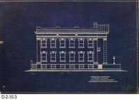 Blueprint - 1912 - Corona City Hall - Leo Kroonen - North Side Elevation