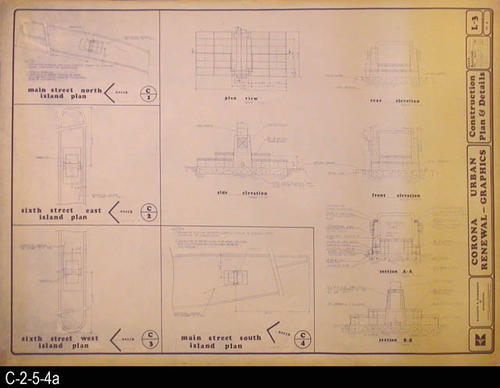 "This blueprint is page 3 of 4 pages covering the Corona Urban Renewal Project.  - MEASUREMENTS:  30"" X 42"" - CONDITION:  There is yellowing extending about 8"" in from the right edge of the blueprint. Minor tears can be seen in the margin areas of the blueprint.  The legibility of the blueprint is excellent. - COPIES:  There are two complete sets of these blueprints.  Set 2 is filed under SOURCE REFERENCE:  C-2-5-2b thru C-2-5-5b. - BLUEPRINT ORIENTATION:  Left end is NORTH."