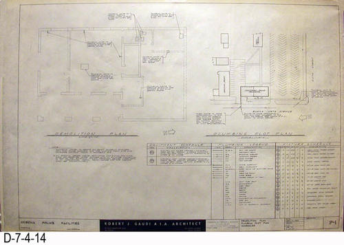 "THESE PRINTS ARE FOR VIEWING ONLY BY AUTHORIZED INDIVIDUALS:  This blueprint is for the Corona Police Facility.  Page P1 shows Demolition Plan - Plumbing Plot Plan Schedules.   MEASUREMENT:  24"" X 36.5"" - CONDITION:  Excellent condition.  Some pages have minor tears on the margin edges. - COPIES:  1."