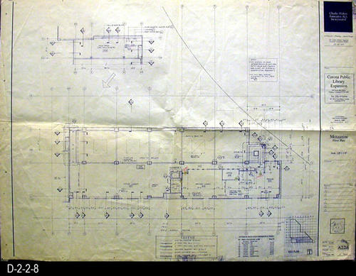 "This blueprint is for the Mezzanine Floor Plan . The scale is 1/8"" = 1'.  MEASUREMENTS: 30"" X  42"" - CONDITION:   Very Good: A vew staple holes in the margin and dog-eared top right corner. - COPIES:  1.."