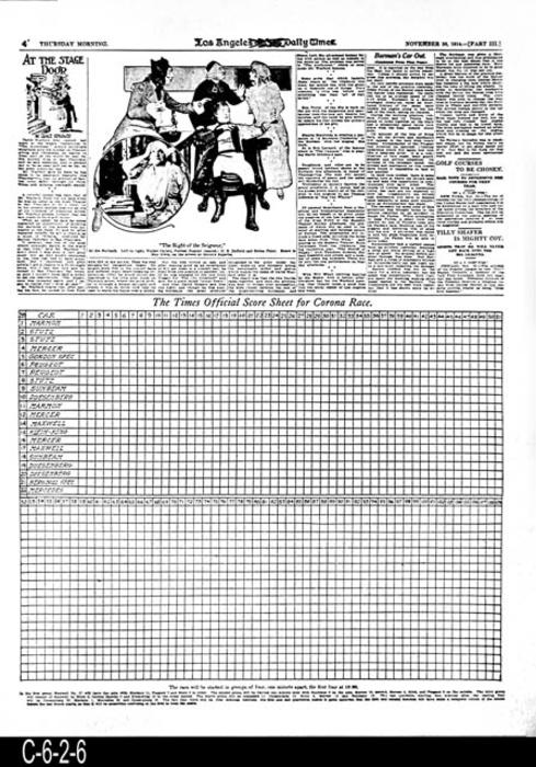 "Los Angeles Times -33rd Year  -Thursday, November 26, 1914  - Reproduction of Part 3, Page 4 that has the Score Sheet for use at the races. - MEASUREMENTS:  23"" X 17 1/2"" - CONDITION: This reproduction is in excellent condition.  - COPIES:  1."