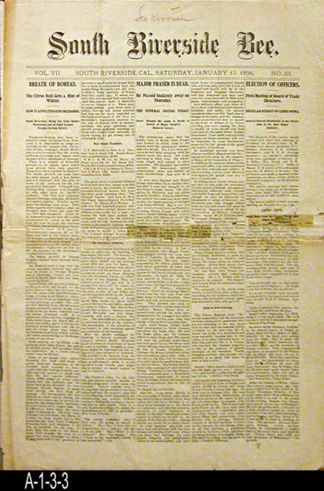 "NEWSPAPER: The South Riverside Bee with area news and classified ads. - Pages: 10 - MEASUREMENTS:  19 1/4"" x 13 1/4"" - CONDITION: This newspaper is in deteriorating condition.  The paper has been taped in some areas.  Small holes are visible on the front page.  The newspaper has fatigued on the horizontal fold line. There is damage and slight browning on some of the edges.  All pages of this newspaper are in a Mylar sleeve.  The paper is fully readable. -  COPIES:  1."