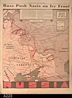 Newspaper - 1942 - The Los Angeles Evening Hearld and Express - Map - Russ Push...
