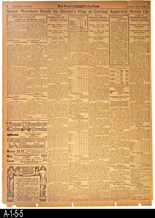 "Los Angeles Times - Part 1, pages 5 and 6.  Page 5 has international, national and local news.  Page 6 has coverage of the Corona Road Races.  - MEASUREMENTS:  22 1/4"" X 16 1/4"" - CONDITION: The paper is browing and brittle. The edges and corners are frayed.   - COPIES:  1."