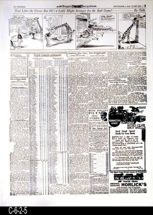 "Los Angeles Times -32nd Year  -Tuesday, September 9, 1913  - Reproduction of the front page of Page 3, Part 3 and one other page where the page number did not copy.  On Page 3 on the left had side are several Corona Road Racing articles and the next page is a scoring sheet for people to take to the races and keep their own score. - MEASUREMENTS:  23"" X 17 1/2"" - CONDITION: This reproduction is a photostatic copy of two pages and is in excellent condition.  -  COPIES:  1."