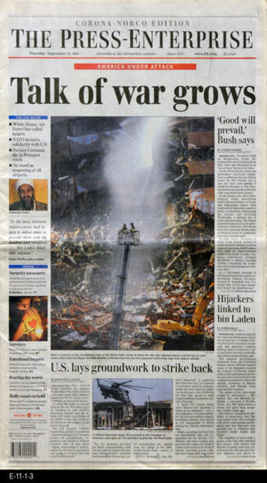 "The Press Enterprise - CONTENT:  This newspaper continues the coverage of the World Trade Center bombing.  Photos -  NEWSPAPER SECTIONS:  A,B, (C and D missing), E, F, and G - MEASUREMENTS:  22"" x 13""  - CONDITION:  Very good.  -  COPIES:  1."