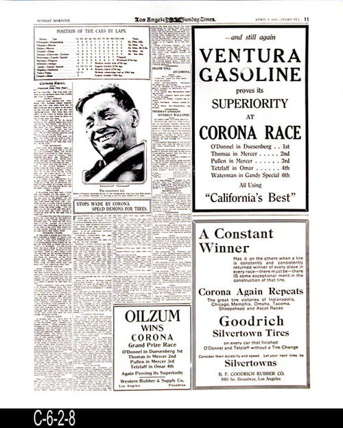 "Los Angeles Sunday Times -35th Year  -Sunday, April 9, 1916 - Reproduction of page 11, part 6.  Photograph of Eddie O'Donnell the winner of the Corona Road Race.  - MEASUREMENTS:  24"" X 20"" - CONDITION: This reproduction is in excellent condition.  COPIES:  1."