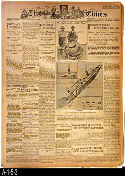 "Los Angeles Times -33rd Year  -Thursday, November 26, 1914  - (This is the original newspaper) - HEADLINE:  None for cover page. This paper is 22 pages long and is divided into three sections.  Part 1 covers international (WWI) and national news. Part 2 local events, Part 3, the Sports Section, reports on Corona Road Racing as well as college footfball.  HEADLINE:  Bob Burman's Peugeot Is Out Of The Race.  - MEASUREMENTS:  22 1/4"" X 16 1/4"" - CONDITION: The paper is becoming brown and brittle.  Part 3 is still pink.  Damage is confined mostly to the edges of the paper and the corners.  - COPIES:  1."