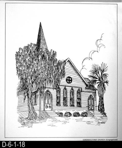 "This pen and ink drawing is of Corona's First Church - Congregational - in Corona, CA. c.1899.  See the Bicentennial Calendar # D-6-1-23. MEASUREMENTS:  12 1/2"" X 10 3/4"" - CONDITION:  Excellent - COPIES:  1."
