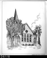Pen and Ink Drawing - Corona's First Church - Congregational - October