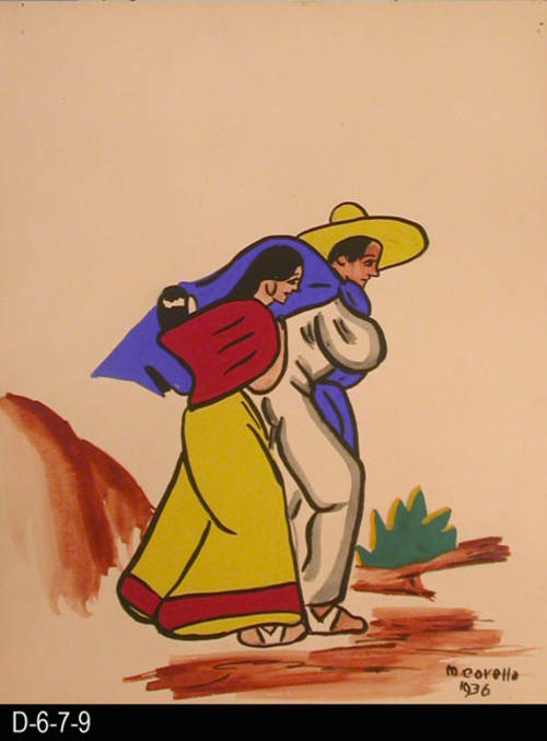 "To Market depicts a man and woman walking on a path.  MEASUREMENTS: 12"" X 9 1/2"" - CONDITION:  This piece of art is kept in a protective sleeve.  The piece of art is in excellent condition.  - COPIES:  1."