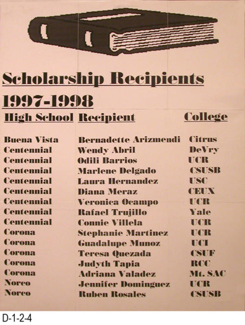"This poster lists the name of the high school, the scholarship recipient, and their college or university of choice.  The recipients were:  Bernadette Arizmendi, Wendy Abril, Odili Barrios, Marlene Delgado, Laura Hernandez, Diana Meraz, Veronica Ocampo, Rafael Trujillo, Connie Villela, Stephanie Martinez, Guadalupe Munoz, Teresa Quezada, Judyth Tapia, Adriana Valadez, Jennifer Dominguez, and Ruben Rosales.   MEASUREMENTS:  28"" X 22"" - CONDITION:  Good - COPIES:  1."