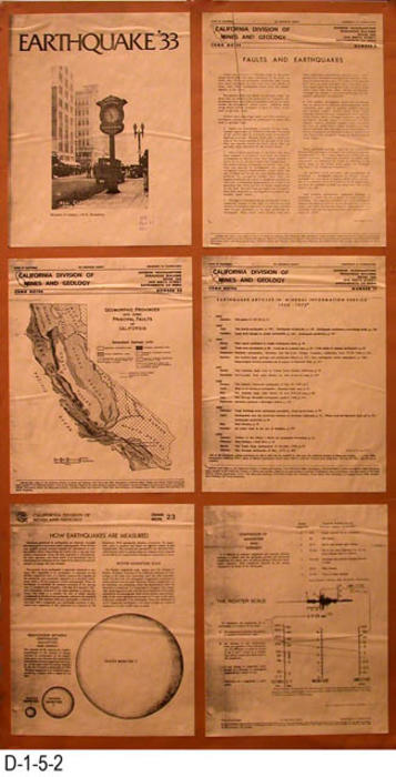 "This poster is made up of  six sheets of  8.5"" x 11"" sheets of paper pasted on one display board.  The titles on the sheets are:  Earthquake '33, Faults and Earthquakes, Geomorphic Provinces and som Principal Faluts of California,Earthquake Articles in Mineral Information service 1960 -1970, How Earthquakes are Measured, and Comparison of Magnitude and Intensity.  MEASUREMENT:  35"" X 18.5"" - CONDITION:  Good - COPIES:  1."