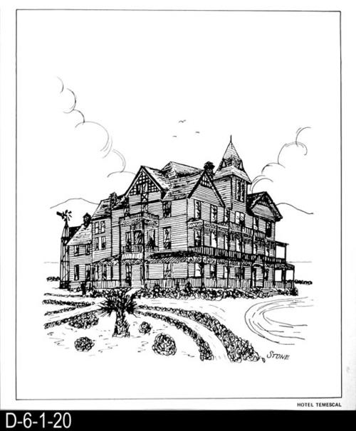 "This pen and ink drawing is of the Hotel Temescal in Corona, CA. c. 1887.  See the Bicentennial Calendar # D-6-1-23.  MEASUREMENTS:  12 1/2"" X 10 3/4"" - CONDITION:  Excellent - COPIES:  1."