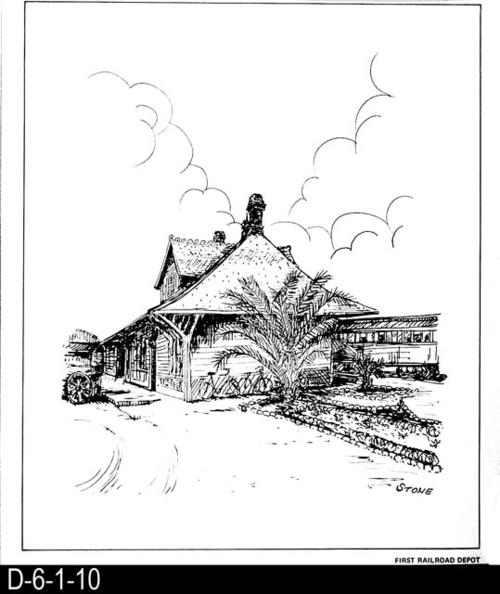 "This pen and ink drawing is of the First Railroad Station in Corona, CA. c. 1888.  See the Bicentennial Calendar # D-6-1-23.  MEASUREMENTS:  12 1/2"" X 10 3/4"" - CONDITION:  Excellent - COPIES:  1."
