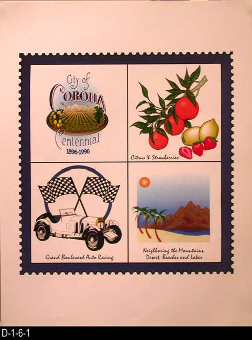 "This poster is designed to look like a postage stamp.  The stamp is divided into four sections.  Section one identified the poste, section two citrus and strawberries, section three Grand Blvd. auto racing, and section four the mountains, desert, beaches and lakes.  MEASUREMENTS:  17"" X 13"" - CONDITION:  Excellent - COPIES:  3."