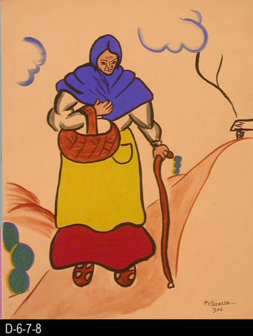 "Village Woman depicts a woman walking on a path.  She is carrying a basket.  MEASUREMENTS: 12"" X 9 1/2"" - CONDITION:  This piece of art is kept in a protective sleeve.  The piece of art is in excellent condition.  - COPIES:  1."