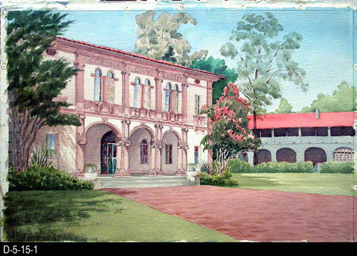 "This watercolor is of the Corona Civic Center and was done by Albert E. Farmer for an exhibition at the Ottis Art Institute of Los Angeles.  He attended that institution from 1926-1927 and 1928-1929.  MEASUREMENTS:  24"" X 30"" - CONDITION:  Excellent:  Watercolor is kept in a protective sleeve - COPIES:  1"