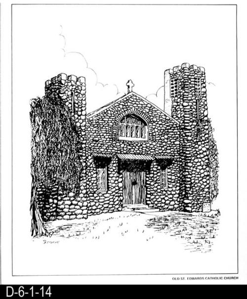 "This pen and ink drawing is of the Old St. Edwards Catholic Church in Corona, CA. c. 1913.  See the Bicentennial Calendar # D-6-1-23. MEASUREMENTS:  12 1/2"" X 10 3/4"" - CONDITION:  Excellent - COPIES:  1."