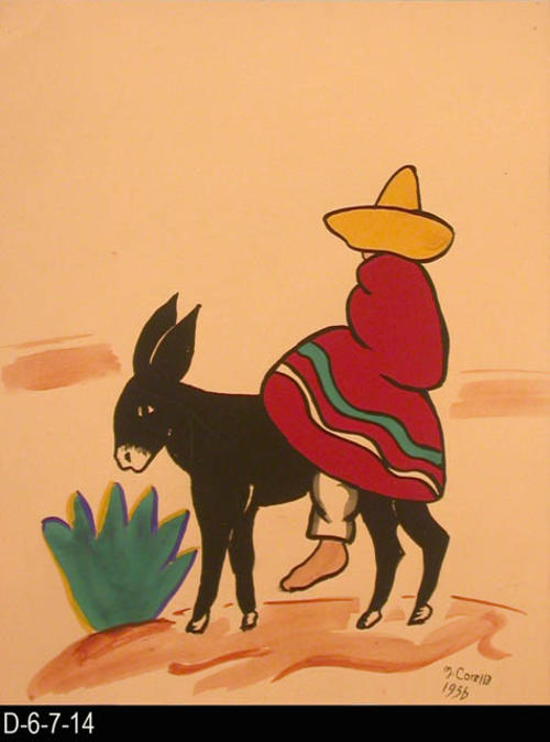 "Burro Herdera Durango depicts a burro on a trail.  A man is riding on the burro.  MEASUREMENTS: 12"" X 9 1/2"" - CONDITION:  This piece of art is kept in a protective sleeve.  The piece of art is in excellent condition.  - COPIES:  1."