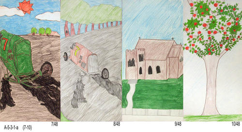 "In 2001 a Tile Contest was held for student drawings depicting Corona History.  The art was to be reproduced on tiles for a Water Wall in the lobby of the Corona Public Library.  Due to financial considerations the tiles were unable to be used. Many of the drawings were done using crayon.  Some, pencil only and a few seem to be oil pastel. This set of four drawings were the only ones submitted in the portrait position. - MEASUREMENTS: Most drawings are on 8"" x 16"" paper.  A few are of a different size. - CONDITION:  All drawings are in excellent condition. - SETS:  One drawing for each of the 48 submitted."