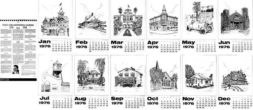 "This is a spiral bound calendar for the year 1976.  Each month features a pen and ink drawing by Betty Heim Stone of a historical site in either Corona or Norco California. The cover page for the calendar tells about each site and gives a short biography on Betty Stone.  Detailed information is given on the producers of the calendar.   Separate pen and ink drawings from this calendar can be seen under RESOURCE or SOURCE IDs # D-6-1-9 throu D-6-1-20.  MEASUREMENTS:  17"" X 11"" - CONDITION:  Excellent - COPIES:  1 new and 2 signed copies plus others in very good condition."
