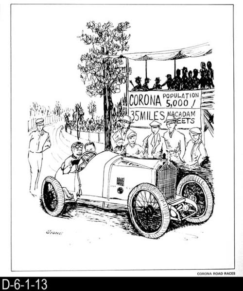 "This pen and ink drawing is of the Corona Road Races in Corona, CA. c. 1913.  See the Bicentennial Calendar # D-6-1-23.  MEASUREMENTS:  12 1/2"" X 10 3/4"" - CONDITION:  Excellent - COPIES:  1."