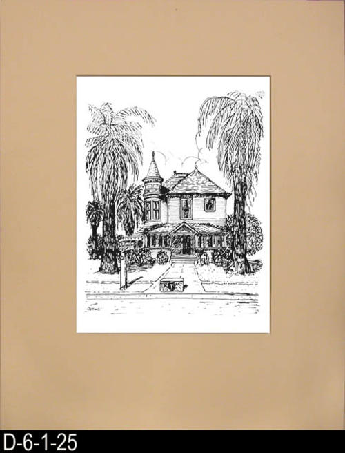 "This pen and ink drawing is of the Ramona and Grand Boulevard Home in Corona, CA. c.1899.  See the Bicentennial Calendar # D-6-1-23.  This is a calendar size picture that has been mounted behind a cream colored matt board with the actual picture covered with Mylar.  MEASUREMENTS:  20"" x 16""  - CONDITION:  Excellent - COPIES:  1."