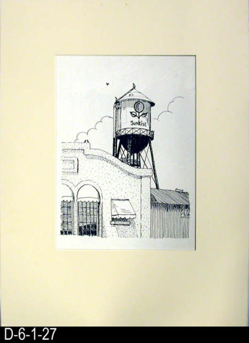 "This pen and ink drawing is of the Sunkist Tower in Corona, CA. c. 1913  See the Bicentennial Calendar # D-6-1-23.  This is a calendar size picture that has been mounted behind a cream colored matt board with the actual picture covered with Mylar.  MEASUREMENTS:  20"" x 16""  - CONDITION:  Excellent - COPIES:  1."
