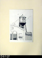 Pen and Ink Drawing - Matt Mounted - Sunkist Tower - July