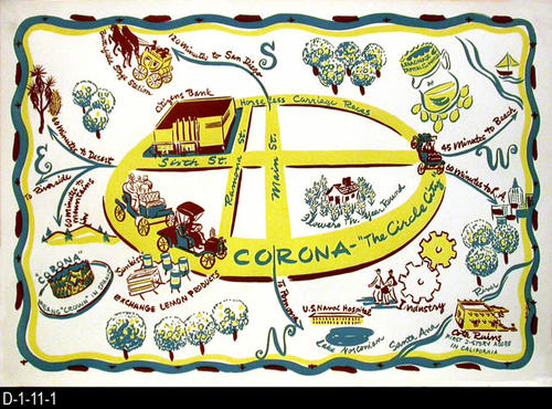"This placemat is in a hand drawn cartoon style.  It features a few historical locations in Corona and Norco with the Corona roadrace circle in the center.  MEASUREMENTS:  11"" X 16"" - CONDITION:  Very Good - some copies have turned brown at the edges. - COPIES:  28- MAP ORIENTATION:  The top of this placemat is SOUTH."
