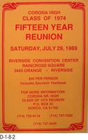 Poster - Corona High, Class of 1974, Fifteen Year Reunion