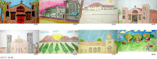 "In 2001 a Tile Contest was held for student drawings depicting Corona History.  The art was to be reproduced on tiles for a Water Wall in the lobby of the Corona Public Library.  Due to financial considerations the tiles were unable to be used. Many of the drawings were done using crayon.  Some, pencil only and a few appear to be oil pastel. This set of eight pictures depicting various scenes in Corona. This group of pictures was rendered on a smaller size paper.  -  MEASUREMENTS: Most drawings are on 8 1/2"" x 14"" paper.  - CONDITION:  All drawings are in excellent condition. - SETS:  One drawing for each of the 48 submitted."