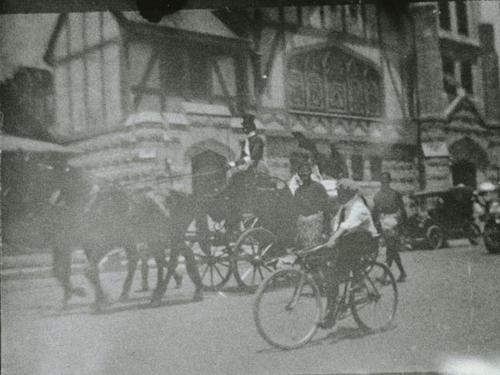Parade for Corona Road Races prior to 1916. In front of the First Congregational                 Church. Bicycles and horse drawn carriages.