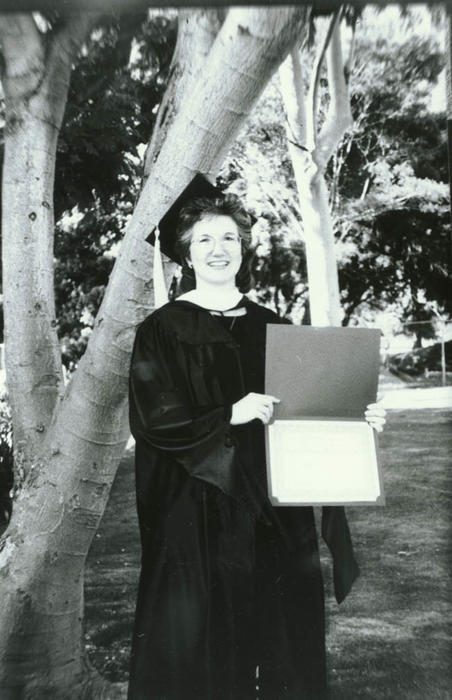 Corona Public Library librarian, Betty Luscher, received her Masters in Library and Information Science degree from San Jose State University, May 1996.
