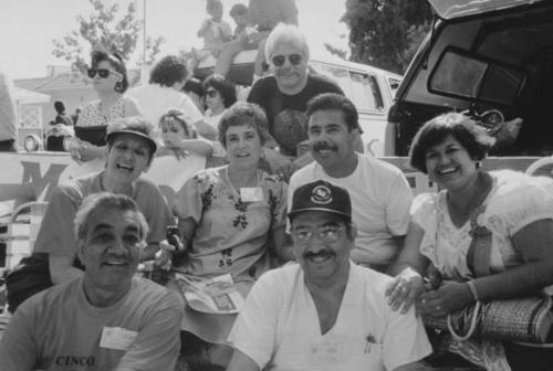 Cinco de Mayo Committee members from 1991(?).  Back: Paul Varela.  Second row: Lucille Hampton; Rachel and Richard Hernandez; Celia ?; Louie Alariz; Albert Varela.
