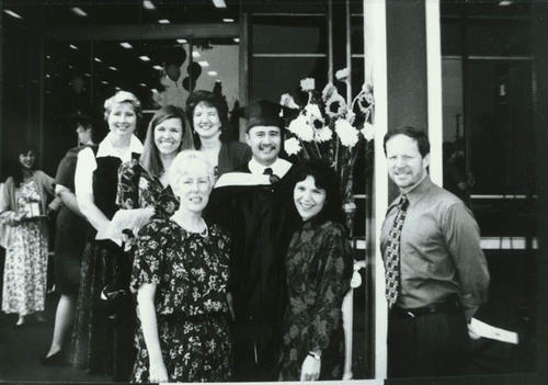 Sal Morano's graduation from San Jose State University, School of Library and Information Science, on May 1998.  (Left to right):  June Engels, Valerie Stadelbacher, Nora Jacob, Betty Luscher, Sal, Lisa Morano, and Howard Curtis.