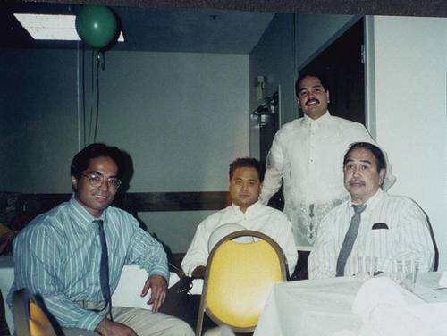 Left to right: Edgar Garcia, Edwin Garcia (brother), Tito Garcia (uncle) and Rudolfo Garcia (father). Silver Wedding Anniversary at local restaurant.