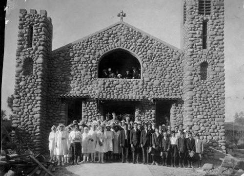 Bishop Cantel, Confirmation Ceremony. Group of people standing in front of St. Edwards Church.