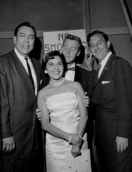 Benefit for St. Edward's School at the Civic Center. (Left to Right): Lalo Guerrero, Frances Martinez, Don McGuffin (P.E), Danny Thomas.