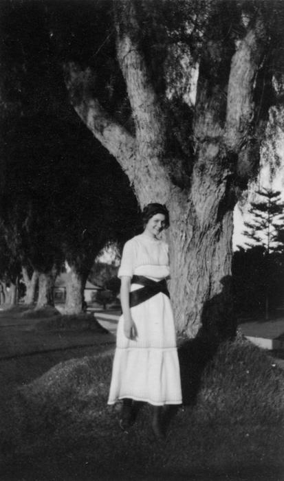 Adelaide Jameson, in front of the (family) home, at 1127 E. Grand Blvd. Corona.