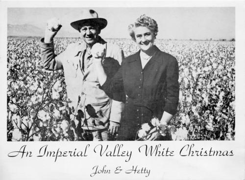John Junior Elmore and Hetty Joy Jameson Elmores in the cotton field. The photo is Christmas card. Photo is from the Bernice Jameson Todd collection.