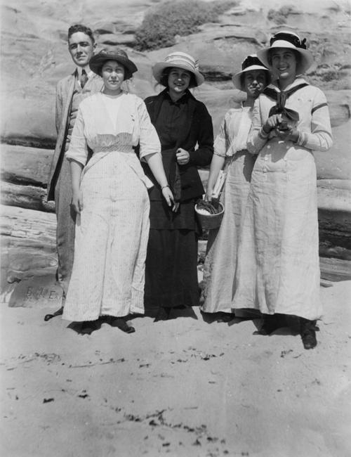 From the right: Hetty, Eloise, Adelaide, Bernice and Henry III. Photo taken at a beach.
