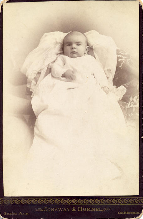 Eloise Jameson. 6 weeks and 3 days. Dec. 8, 1888. From Adelaide's Collection. Original label by Mrs. W.H.. Jameson.