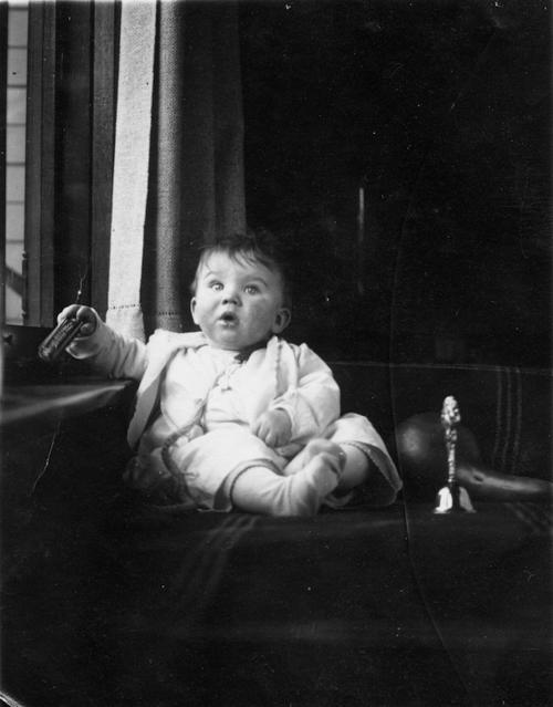 Frederic Elmon Benton, son of Arabella Lezetta Shinner Benton. Photo taken in the living room of the George L. Joy house at 1127 E. Grand Blvd. Collection of Adelaide Jameson David.