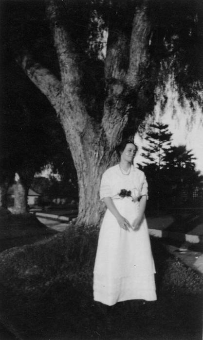 Eloise Jameson in front of the family home at 1127 E. Grand Blvd, Corona.